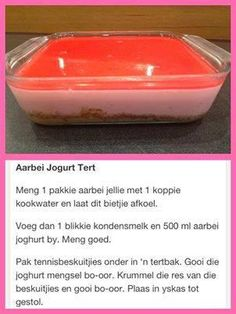 Rainbow Gospel Radio | Aarbei Jogurt Tert Cold Desserts, Pudding Desserts, Easy Desserts, Delicious Desserts, Yummy Food, Tart Recipes, My Recipes, Sweet Recipes, Baking Recipes