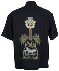 Bamboo Cay - Paradise Tunes - Tropical Embroidered Shirt - Black
