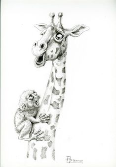 Funny animal art print wall decor giraffe tarsier pen and ink drawing wildlife artwork black and whi Jungle Illustration, Funny Illustration, Ink Drawings, Animal Drawings, Flower Drawings, Animal Sketches, Foto Transfer, Plant Drawing, Wall Drawing