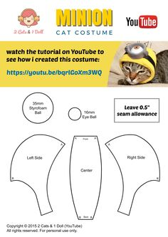 Minion Cat Costume - DIY pet Costume - sewing tutorial by 2 Cats & 1 Doll (YouTube)