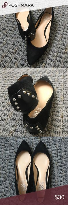 Brand new suede flats with stud detail Adorable NWT black suede flats in size 4.5 Vince Camuto Shoes Flats & Loafers