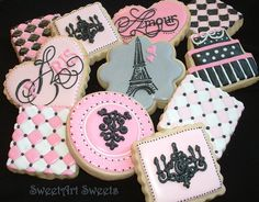 Paris decorative cookies 1 dozen by SweetArtSweets on Etsy, $48.00 | Wedding Bridal Shower Favors