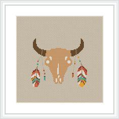 Cow skull Cross Stitch Pattern PDF South western Native от Xrestyk