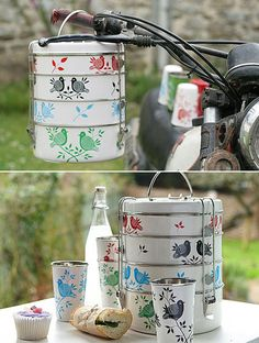 Hand painted tiffin tins