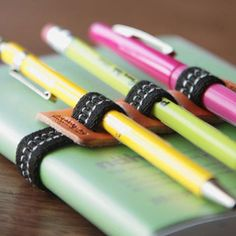 penholder - bet I can make this DYI. Perfect for a stationary or journal gift set