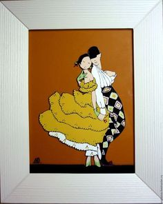 """Люди, ручной работы. Ярмарка Мастеров - ручная работа. Купить картина """"Влюбленные"""". Handmade. Комбинированный, влюбленная пара, карнавал"""
