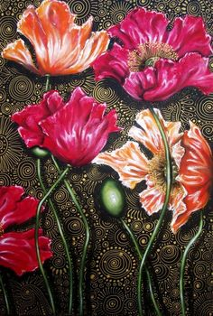 """Buy """"ICELAND POPPY MIX"""" ---  Original Acrylic Painting on Boxed Canvas by Cherie Roe Dirksen ---  610 x 910 for R3,995.00  #art #paintings"""