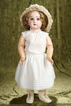 """27"""" French bisque Bebe Jumeau, paperweight eyes, closed  mouth, straight wrist body 3000/5000"""