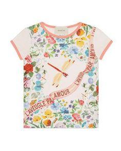 05673d299 Gucci Short-Sleeve Floral Garden-Print T-Shirt, Size 4-12