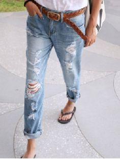 Stylish Bleach Wash Hole Design Loose-Fitting Denim Women's Jeans Pants | RoseGal.com Mobile