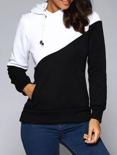 $21.16 Contrast Color Spliced Pocket Design Hoodie
