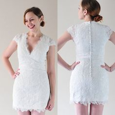Teresa-City Bride-Custom V neck Cap Sleeves Short Lace Wedding dress Gown-detachable skirt can be added