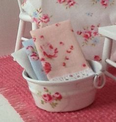 Miniature Dollhouse Shabby Bucket with Towels by RibbonwoodCottage, $15.50