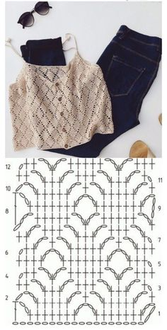 Débardeurs Au Crochet, Pull Crochet, Mode Crochet, Crochet Diagram, Crochet Woman, Crochet Blouse, Crochet Crafts, Crochet Projects, Knitting Patterns