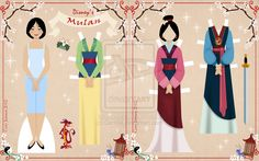 "Mulan joins the Retro Paper Doll Collection! Someone suggested that I make a Mulan doll a while ago and I though to myself ""why haven't I done her yet!"" I love Mulan and I think she has a beautif. Mulan Doll, Mulan 3, Disney Paper Dolls, Frozen Paper Dolls, Origami, Paper Art, Paper Crafts, Disney Printables, Paper Dolls Printable"