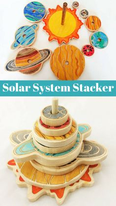 Solar System Stacker - This wooden solar system stacker toy is a fun interactive activity for your toddler. Helping teach fine motor skills, your child will sort sizes and slowly start to learn about our solar system. #etsy #handmade #wood #natural #waldorf #montessori #preschool #preK #kindergarten #science #astronomy #ad