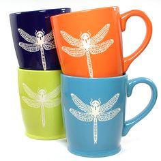 Dragonfly coffee mug in tangerine orange by Bread and Badger, Microwave-safe, Dishwasher-safe, sandblasted ceramic