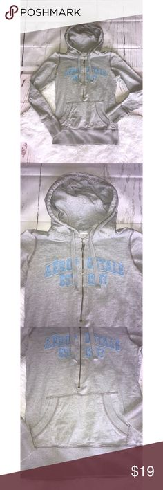 VINTAGE AERO ZIPPER HOODIE Aero hoodie Half zipper and pull over.  Vintage style.  Gray and teal. Aeropostale Tops Sweatshirts & Hoodies