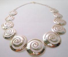 Sterling Silver Necklace Swirling Disk by Libbysmomsvintage