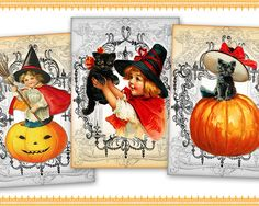 Halloween Greeting cards Gift tags Printable Download on Digital Collage Sheet best for Halloween decor - HALLOWEEN CARDS