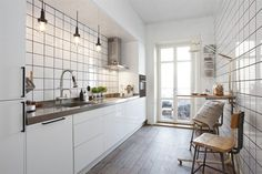 This kitchen is like ours, long and skinny. Except this one is WAY cooler.