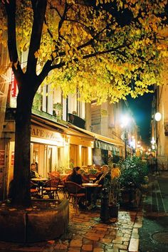 Paris cafés by night
