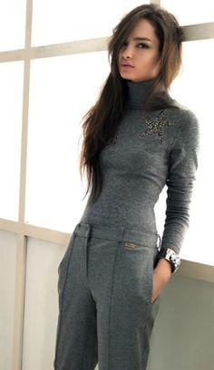 add a contrasting jacket or go monochrome w/ charcoal. Blugirl F/W 12/13