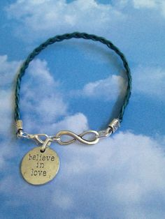Infinity and Leather Bracelet by joytoyou41 on Etsy, $25.00