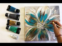 Abstract Flower Painting Demonstration Acrylic Easy Techniques – Welcome Easy Flower Painting, Acrylic Painting Flowers, Acrylic Painting For Beginners, Acrylic Painting Techniques, Abstract Flowers, Acrylic Painting Canvas, Flower Art, Canvas Art, Diy Canvas