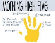 Morning High Five - introducing chores to children