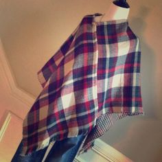 Plaid Lightweight Soft Poncho Reversible This is a cute and stylish plaid reversible poncho. It goes great with jeans. It's also one size fits most. Sweaters Shrugs & Ponchos
