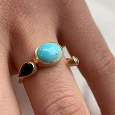pierścionek z opalem szafirem i diamentem Gemstone Rings, Turquoise, Gemstones, Jewelry, Jewlery, Gems, Jewels, Jewerly