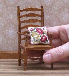 miniature pillow kit Petit point needlepoint dolls house cushion Dollhouse miniatures accessory for armchair, chair, sofa sq Needlepoint Pillows, Needlepoint Kits, Funny Needlepoint, Bargello Needlepoint, Needlepoint Designs, Needlepoint Stitches, Needlepoint Canvases, Tent Stitch, Miniatures