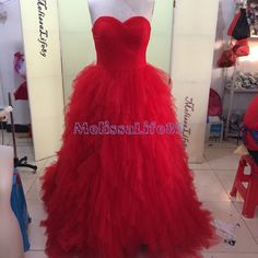 2015 Ball Gown Red Long Prom Dresses Sweetheart by MelissaLife89