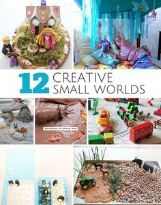 12 Creative Small World Play Ideas for Kids. Lots of awesome sensory bins and imaginative play for kids.
