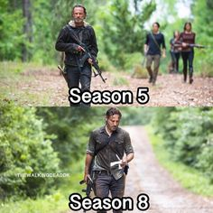 5 vs 8?  . . #thewalkingdead #love #rickgrimes #guns #carl #twd #twdfamily #negan #season8 #season5 #walkers #glenn #maggie