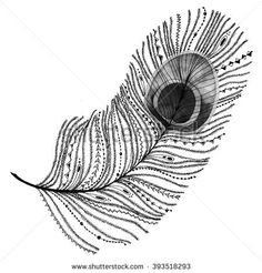 Ethnic tribal peacock feather. Raster watercolor illustration. Unusual design element for luxury.
