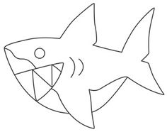 """""""Too Cute Shark""""  Here there be ferociously adorable sharks! Downloads as a PDF. Use pattern transfer paper to trace design for hand-stitching.  UTH6752 (Hand Embroidery)  00511607-082013-1359-4"""