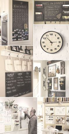 kitchen Organization Station - Ideas for Setting up a Family Command Center in the Kitchen. Command Center Kitchen, Family Command Center, Kitchen Message Center, Chalkboard Command Center, Family Message Center, Organization Station, Home Organisation, Calendar Organization, Ideas Para Organizar