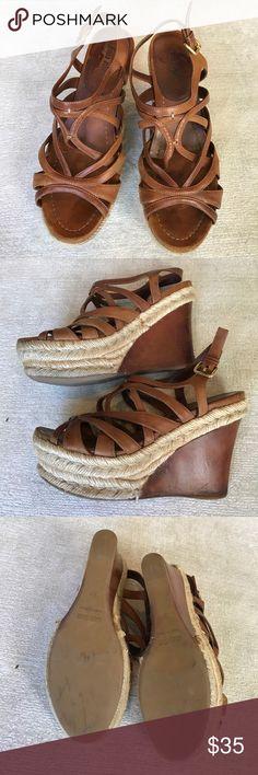 "Miu Miu Criss cross espadrilles wedge Miu Miu cognac brown leather strappy espadrille wedge. Size 37. With 5"" wedge platform Miu Miu Shoes Sandals"