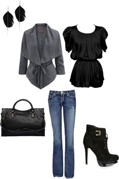 Black and Grey. I love the coat!, created by jamie-preston on Polyvore