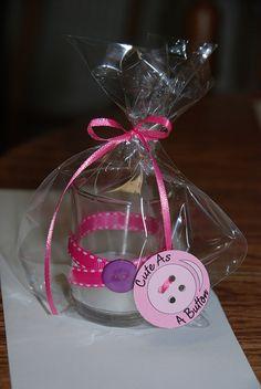 Cute as a button baby shower favor