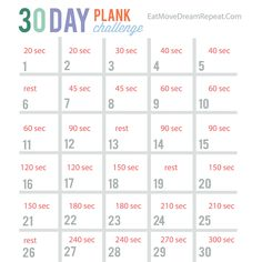 30 Day Plank Challenge FREE PRINTABLE --So you want a simple exercise move that will give you a rock hard core? PLANKS ARE THE ANSWER!! The plank helps develop strength in the core, shoulders, arms and legs. Even though you aren't lifting any weight, you have to constantly squeeze your abs to hold the position. (Most people can't last 30 seconds on their first attempt, that's why we start out with 20 seconds on the first day and gradually build up.)