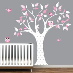 Children Wall Decals For Nursery-tree With Owls Birds