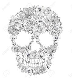floral skull tattoo - Buscar con Google