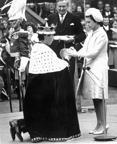 Elizabeth and Charles, when he became Prince of Wales