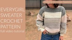 This comfy, easy to make Everygirl Crochet Sweater is the perfection addition to your fall wardrobe. I used 2 Caron Cakes to make this sweater. Crochet Jumper Pattern, Boy Crochet Patterns, Crochet Clothes, Crochet Sweaters, Crochet Tops, Beginner Crochet Projects, Crochet Shawls And Wraps, Crochet For Boys, Crochet Videos