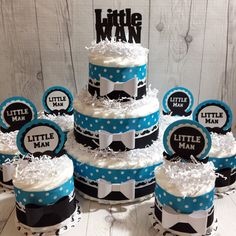 Turquoise and Black Polka Dot Little Man Diaper Cake Centerpiece Set