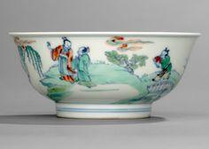 Kaiserliche 'Doucai'-Schale aus Porzellan mit Gelehrten- und Dienerdarstellung