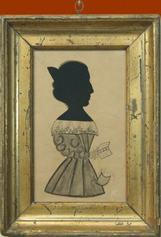 Antique American Folk Silhouette by Rarely-Found Maine Artist